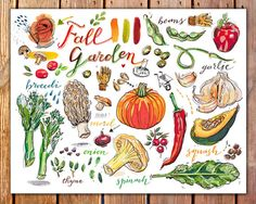 fall garden print. Autumn harvest. Food illustration. by LouPaper, $18.00