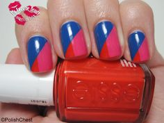 Red, pink, and blue color blocked nails. #nailpolish #manicure #mani #colorblocking