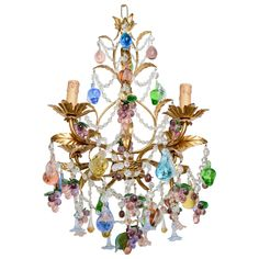 Vintage Hand Blown Multi Colored Murano Chandelier | From a unique collection of antique and modern chandeliers and pendants at https://www.1stdibs.com/furniture/lighting/chandeliers-pendant-lights/
