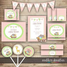 Girl's Baptism PARTY PACKAGE / Noah's Ark / Baby Girl's by OandD, $35.00