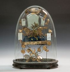 Victorian Brass & Glass 'Globe de Mariée'. Late 19th century. Under glass dome. With birds and flowers. Given to French or Belgian brides on their 50 year Golden Wedding anniversary. Flower bouquet from the groom and the waxed tiara from the bride.