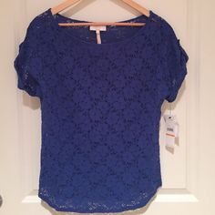 Laundry by Shelli Segal Royal Blue Top Short sleeved floral cut out top in Royal blue. Never been worn. New with tags! Laundry by Shelli Segal Tops Blouses