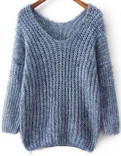 Shop Blue V Neck Long Sleeve Mohair Loose online. Sheinside offers Blue V Neck Long Sleeve Mohair Loose Sweater & Knitting Wool, Easy Knitting, Knitting Patterns, Mohair Sweater, Loose Sweater, Pull Crochet, Knit Crochet, Winter Sweaters, Sweater Weather