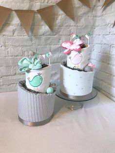 Twin diaper cakes Twin baby shower Baby gift for twins Baby