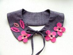 Peter Pan Kragen, grau, rosa, Blumen, Filz, Sticke von MeganaArt auf DaWanda.com