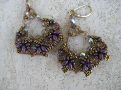 Hand Beadwoven Dangle Earrings of Crystals, SuperDuos, Seed Beads in Purples, Crystal AB & Bronze Gold Filled Leverback Ear wires