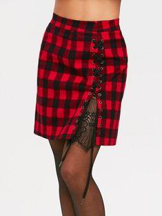 High Waist Lace Panel Criss Cross Tartan Skirt - BLACK/RED S