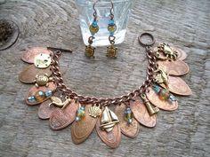 Pressed Elongated Penny Pennies Beach Ocean Sea Charm Bracelet ...