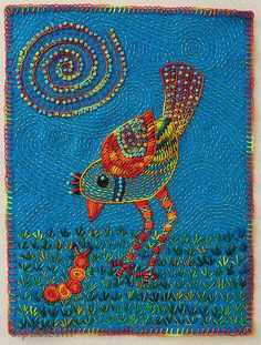 Excerpt from Joyful Stitching: Transform Fabric with Improvisational Embroidery by Laura Wasilowski. Introduction: Free-Form Embroidery A Rare Song Bird by Laura Wasilowski, 7˝ × 9˝ Hand embroidery may seem like a quiet pastime for quiet people in a quiet