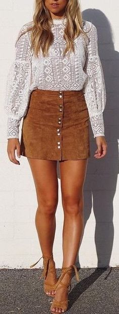 White Lace + Camel Suede Source