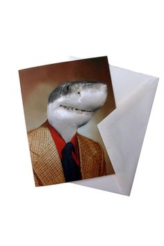 """Printed note card with a blank inside. Comes with a plain envelope and wrapped in a plastic sleeve.    Measures: 5.47"""" x 4.25"""" folded   Shark Note Card Home & Gifts - Gifts - Stationery & Office Texas"""