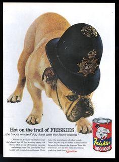 1960 bulldog London police dog photo Friskies dog food vintage print ad d278dae4cc2b
