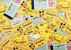 Vintage Disneyland tickets lots in lots of mickeys tickets yes Disney is magic :) Retro Disney, Old Disney, Disney Love, Disney Magic, Punk Disney, Disney Stuff, Disneyland Tickets, Vintage Disneyland, Disneyland History