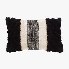 Black Stripe Knit Lumbar Pillow