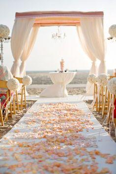 peach coral wedding aisle decor ~  we ❤ this! moncheribridals.com