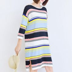 Colorful striped sweater dress for women stylish knitted tops long style