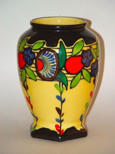 "Czech Handpainted Vase 8"" tall Marked ""Czechoslovakia Handpainted"" on bottom and impressed with 19220  Contact: Antelope Antiques"