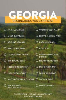 15 Best Weekend Trips from Atlanta Georgia - A Guide to Great Getaways - ModaHaberci Hiking In Georgia, Georgia Usa, Ga Usa, Atlanta Georgia, Savannah Georgia, New Orleans, New York, Best Weekend Trips, Day Trips