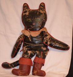 Antique Horsman Oil Painted Cloth Puss N Boots Cat Doll Rag Cloth