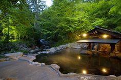 山みず木|黒川温泉 清流沿い Kurokawa Onsen, Koi Pond Design, Japanese Hot Springs, Farm Village, Traditional Japanese House, Japanese Bath, Japan Garden, Cool Tree Houses, Pool Designs