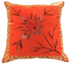 Hand Painted Floral #Pillow Cover Set of 2. Beautiful golden orange (sold as pair)