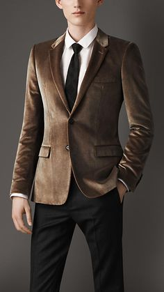 Slim Fit Overprint Velvet Jacket | Burberry