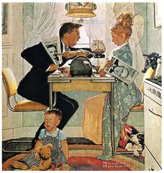WWII era illustration by Norman Rockwell satirizing the passion of polarized political opinions in a free country. The husband's right because he's yelling the loudest. She was right because Truman won! That election was a squeaker.