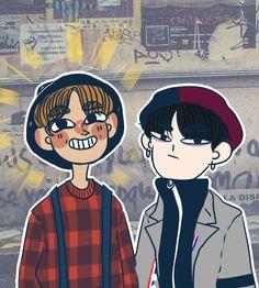 BTS J-hope and Suga fanart cr: ask-bts-stuff