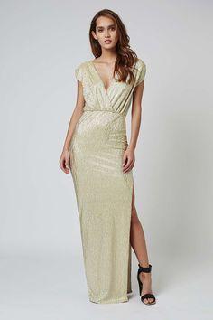 Metallic Wrap Bodycon Maxi Dress by Rare - Dresses - Clothing