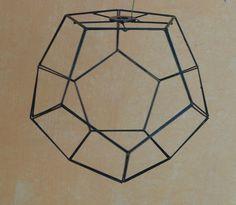 Pantalla dodecaedro para lámpara de techo, hecha a mano 22x18. Color verde.