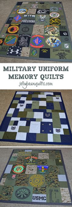 Military Quilts, Military Uniform Quilts, Military Memory Quilts from Army Navy Marine Uniforms Love this idea - military memory quilt! Military quilt made with old uniforms & t-shirts from Military Crafts, Military Mom, Military Girlfriend, Army Mom, Navy Marine, Marine Corps, Marine Mom, Memory Pillows, Memory Quilts
