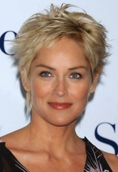 Sharon Stone short haircut with slight height on top. Nice color hair. #Hairstyles