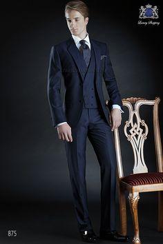Traje de novio italiano a medida, azul en tejido lana mohair alpaca modelo 875 Ottavio Nuccio Gala colección Gentleman 2015.
