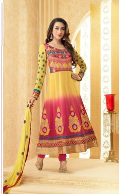 Color : Yellow, Pink Collection : Karishma Kapoor Top Fabric : 60 gm Georgette Bottom Fabric : Santoon Inner Fabric : Santoon Dupatta Fabric : Nazneen Work : Embroidery Work Weight : 1 k.g Style : Semi Stitched Long Anarkali Suit Occasion : Traditional Wear, Ethnic Wear, All Festival, Party Wear Season : Any Time to Ship : Ready To Ship Wash Care : Recommends Dry Wash Only