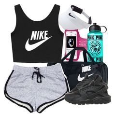 Gym by lulu-foreva on Polyvore featuring NIKE and Victorias Secret PINK