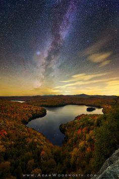 Autumn Milky Way Over Nichols Pond, Vermont, USA