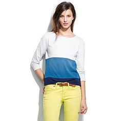 Madewell Cascade Block Sweatshirt with yellow jeans...Alpha Xi perfection!