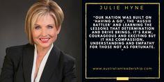 """Julie Hyne on Australian Leadership: """"Our nation was built on 'having a go.'"""""""