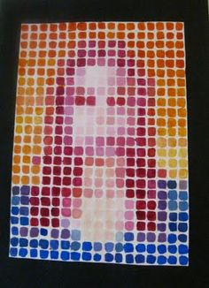 High school art project idea. Maybe use paint swatches cut into squares and glue into mosaic?