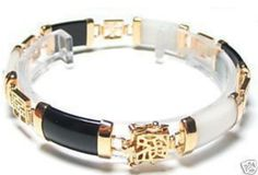 Hot sell ->@@ Exquisite 18KGP Black White Jade Bracelet -Top quality free shipping