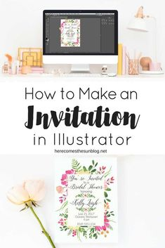 Learn how to make a beautiful invitation using Illustrator! This step by step tutorial lays it all out so you can create invitations with ease. How To Make Invitations, Create Wedding Invitations, Diy Invitations, Floral Invitation, Digital Invitations, Invitation Design, Create An Invitation, Wedding Programs, Wedding Stationery