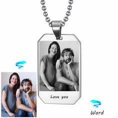 Custom Photo & Nam Necklace Picture Personalized Custom Laser Engraved Gift Veteran Military Husband Boyfriend Can Dropshipping #Affiliate
