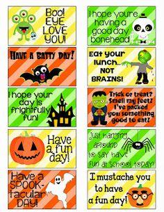 FREE Halloween Lunch Box Notes at MySunWillShine.com