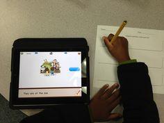 Literacy center using the Sentence Builder app. Great app for sentence work! (2.99)