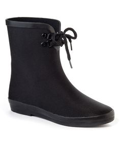 Another great find on #zulily! Black Blooming Rain Boot #zulilyfinds