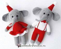 Новогодние игрушки крючком. Слоники амигуруми (2)