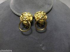 Vintage KENNETH J LANE KJL Lion Head Door Knocker Earrings