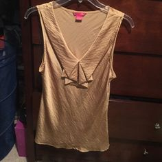 blouse goldish color, no sleeves, ruffle at top, silk smooth, good condition jcpenney Tops Blouses