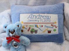 Birth Sampler Pillow - Boy and Girl