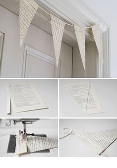 Paper bunting, use personal pieces of documentation ie. birth/wedding certificates (copies of course), to make this really personal.